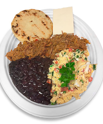 Arepas-Grill-Charlotte-NC-Desayuno-criollo-eggs-scrambled-sauteed-tomato-onion-sweet-pepper